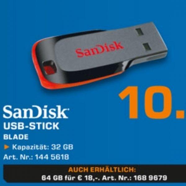 32GB Sandisk USB 2.0 für 10€ 64GB für 18€