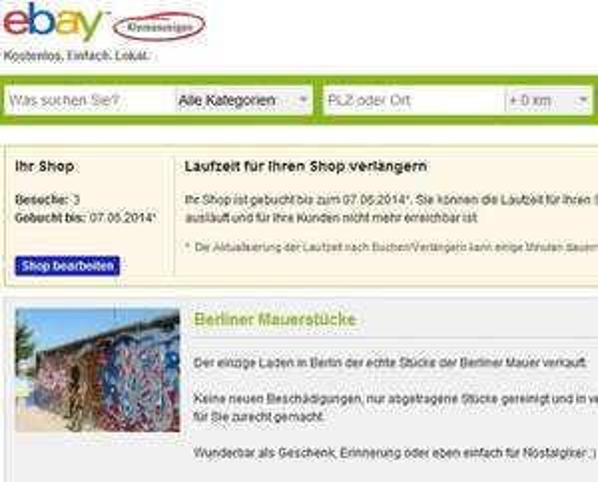 ebay kleinanzeigen shop 1 monat kostenlos testen lokal berlin nur gewerbetreibende. Black Bedroom Furniture Sets. Home Design Ideas
