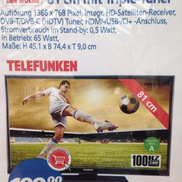 """[real,-] Telefunken D32H125N3C - 32"""" LED mit Triple Tuner, DLNA, CI+ und HbbTV 199,00€ / Lokal Celle?"""