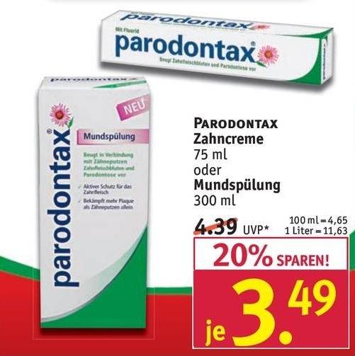 [ROSSMANN BUNDESWEIT] Paradontax Zahnpasta 75ml/Mündspülung 300ml für 2,69€ (Angebot + Sofort-Rabatt-Coupon) 39% Rabatt