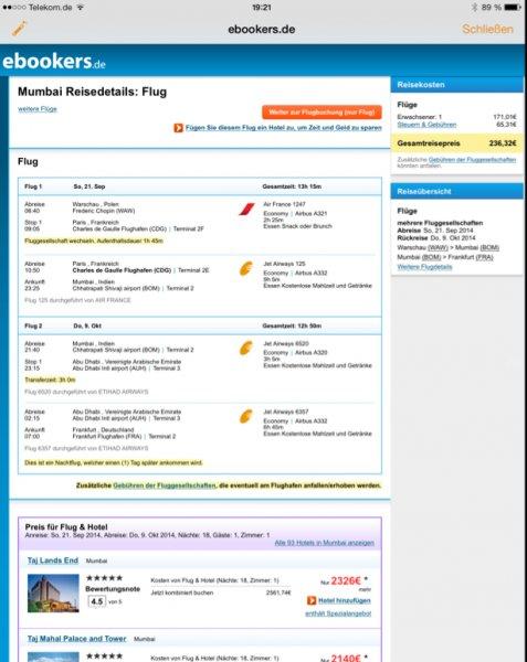 Flüge nach Mumbai (ab Warschau nach Berlin/München/Düsseldorf/Frankfurt zurück) für 237€