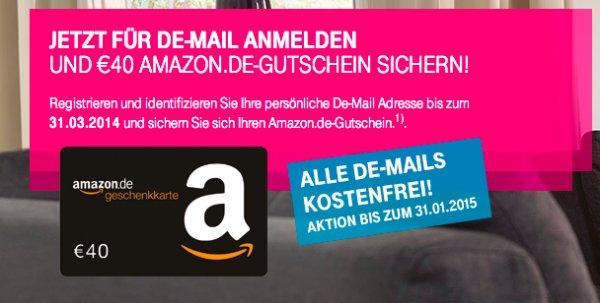 Identifizierung für TELEKOM DE-Mail und Amazon Gutschein 40€ immer noch möglich/ Bei Neuanmeldung 20€ Amazon