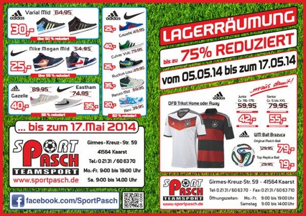 [lokal Kaarst] Räumungsverkauf bei Sport Pasch. z.B. Nike Mogan Mid für 25 statt 46,95 Euro.