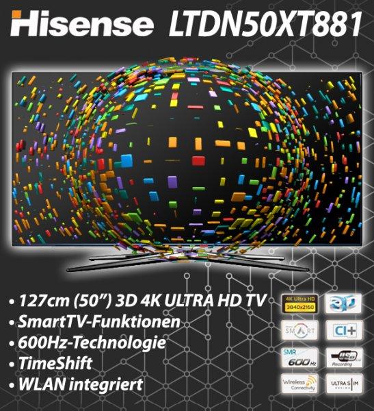 Hisense LTDN50XT881 126cm 4K Ultra HD 3D Fernseher Smart TV 600 Hz WLAN UHD