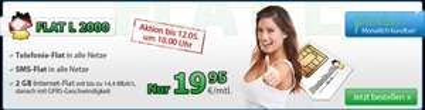 DeutschlandSIM (O2) – Allnet-Flat, SMS-Flat, 2 GB Daten für 19,95€ auf der Rechnung (monatlich kündbar) 0 € Bestellpreis + 10 € Cashback über Qipu