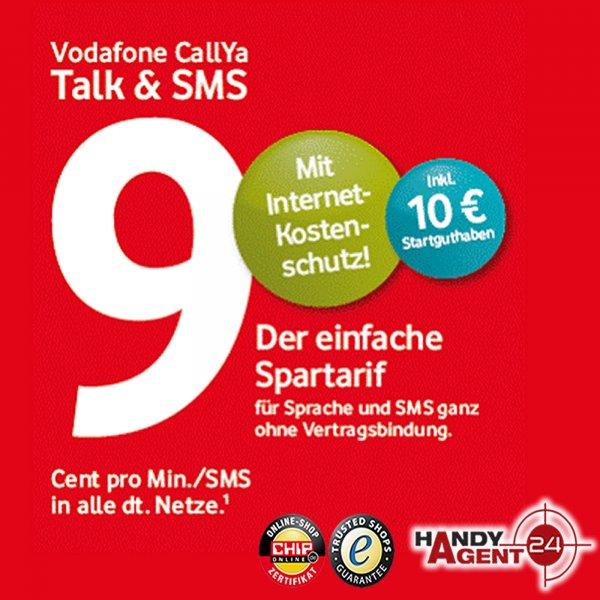 Vodafone Talk & SMS 9 Cent D2 CallYa Prepaid Handy SIM Karte inkl. 10€ Guthaben psn usw