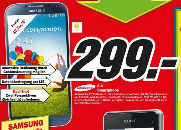 [Lokal - Osnabrück] Samsung Galaxy S4 16GB schwarz 299€ bei Media Markt