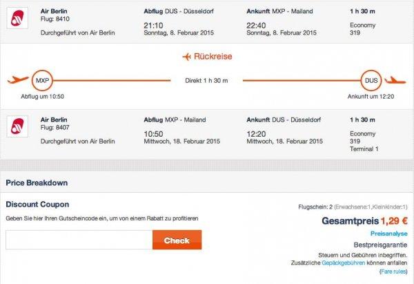 Returnflüge mit airberlin ab 1,29 Euro durch ganz Europa!