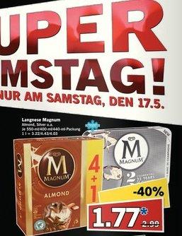 [LIDL] Langnese Magnum Eis 4+1er Pack 550ml für 1,77 Euro am 17.05. Super-Samstag