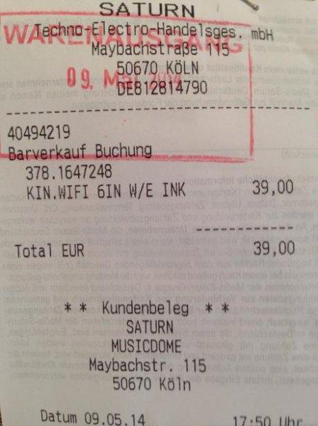 KINDLE eReader WiFi 6 Zoll 39 EUR: LOKAL [Saturn Köln Hansaring]