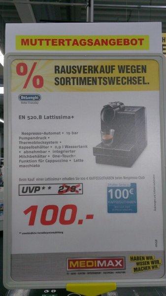 [MEDIMAX PFUNGSTADT]  DeLonghi EN 520.B Lattissima+  für nur 100 €