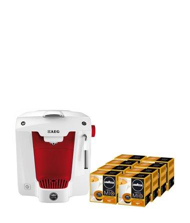 Lavazza A Modo Mio 8x16 Kapseln + Favola LM5100 AEG Espressomaschine rot