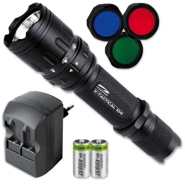 [Amazon Marketplace] LiteXpress X-Tactical 104 LED-Taschenlampe mit 190 Lumen inkl. Ladegerät mit 2 Stück RCR123 A Akkus