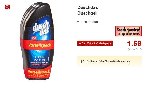 [Kaufland]  3x250 ml DuschDas Duschgel  1,59€