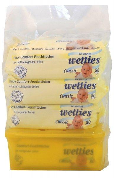Wetties Maxipack Baby Comfort Feuchttücher Classic Tragebeutel und Pop Up Box - 4 x 80 Tücher mit Box, 1er Pack (1 x 320 Tücher)