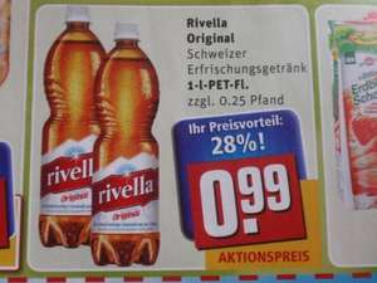 [Lokal Rewe] Rivella Original 1 l Flasche für 0,49€  dank Coupies o. Barcoo