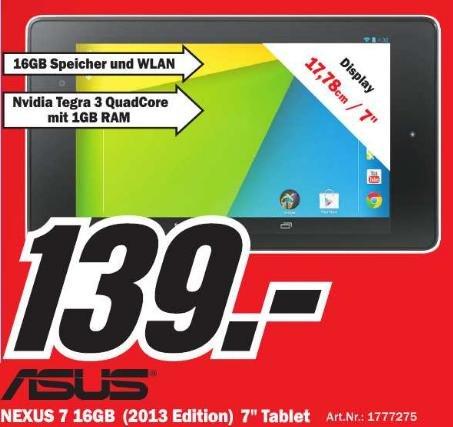 [Lokal Speyer] ASUS Google Nexus 7 16GB WiFi (2013) für 139€