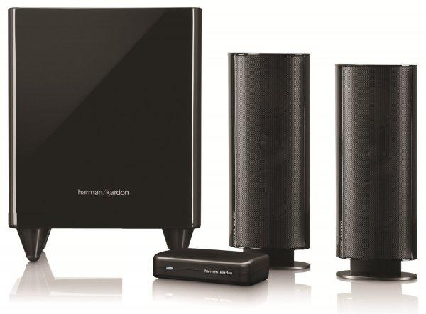 Harman Kardon HKTS 200 BQ W 2.1 Lautsprechersystem (300 Watt) mit drahtlosem aktiv-Subwoofer (200 Watt) schwarz@amazon