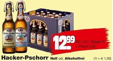 Hacker-Pschorr Hell für 12,99€ bundesweit bei Orterer, Benz Sobi unf Fränky