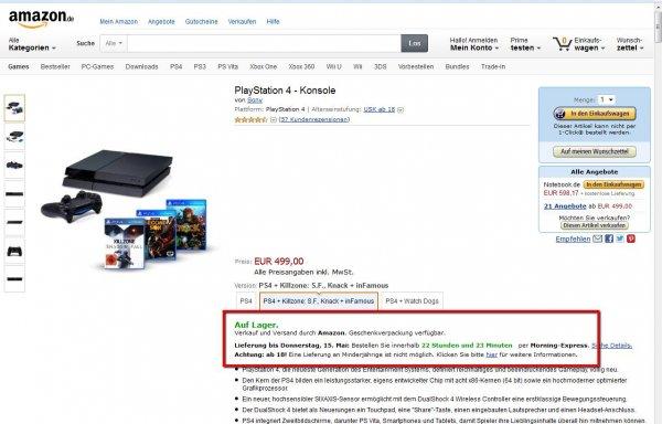 Playstation 4 mit Killzone, Knack + inFamous für 499 direkt über Amazon lieferbar.