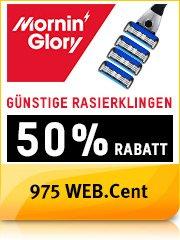 WEB.cent über web.de: Jetzt 50% Rabatt bei Mornin' Glory sichern! (4 Rasierklingen ab 3,00 Euro (Erstlieferung) - läuft als Abo, aber jederzeit kündbar) + 975 Punkte (entspricht 9,75 Euro).