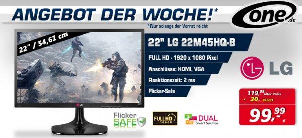 TFT LG 22M45HQ, 21.5 Zoll für 99,99€ + 4,90€ VSK bei One.de statt 114,99€