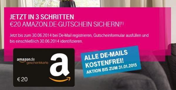 20€ Amazon Gutschein für De-Mailer ! Telekom Aktion wieder eingeführt