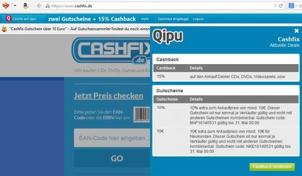 Cashfix 10€ Extra zum Ankaufspreis für Neukunden
