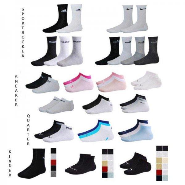 [Ebay] Socken Adidas/Nike/Puma im 9er Pack (Sneaker/Quarter/Sportsocken)