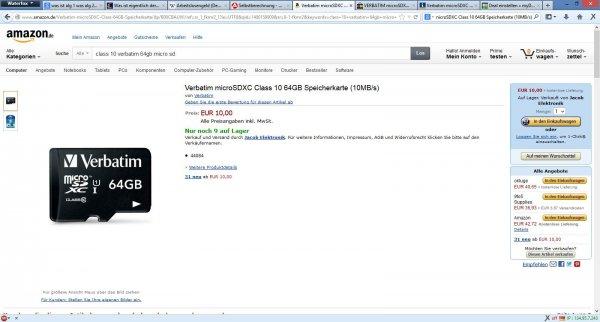 VERBATIM microSDXC 64GB Speicherkarte mit SD Card Adapter für 10€