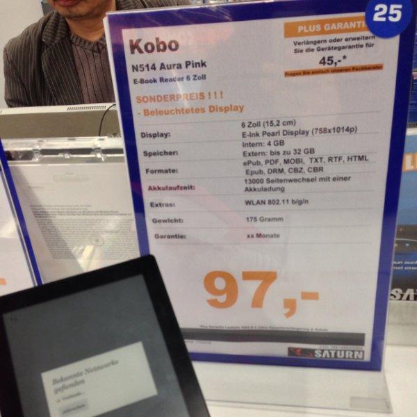 [lokal Berlin] Kobo Aura eBook Reader in pink mit beleuchtetem Display für 97€ im Saturn am Alex