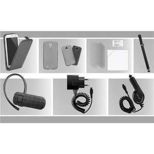 7 teiliges Zubehör Set für Samsung Galaxy S4 für 27,99 € statt 76,81 € - mit Lederflipcase und BT-Headset