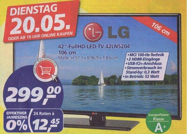 [Real]  LG 42LN5204 106 cm (42 Zoll) LED-Backlight-Fernseher, EEK A+ (Full HD, 100Hz MCI, DVB-C/T, CI+) für 299€  NUR am 20.05.14