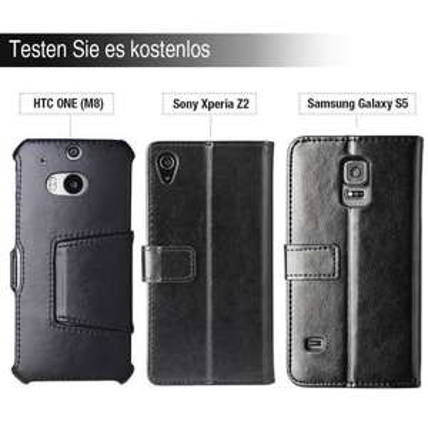 Kostenlos testen: EasyAcc Ledertasche Hülle für HTC ONE (M8), Samsung Galaxy S5, Sony Xperia Z2