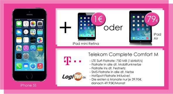 iPhone 5S + iPad mini 2 für 1€ zur Telekom Allnet-Flat + SMS-Flat + Surf-Flat (LTE) effektiv nur 10,41€ pro Monat!