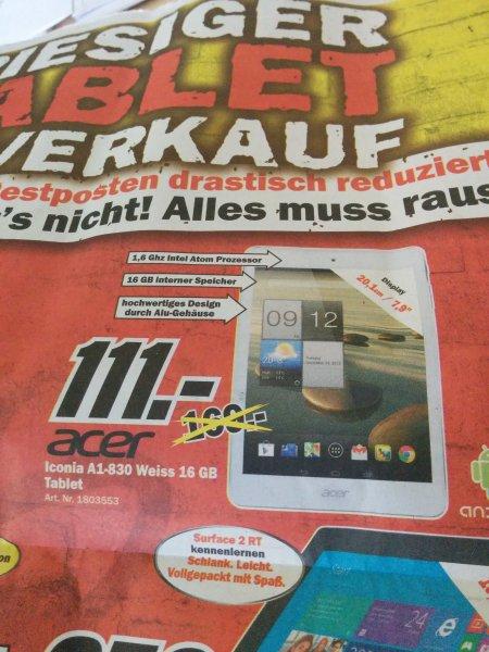 [Lokal Mannheim] Acer Iconia A1-830 7,9Zoll Tab mit 16Gb für 111Euro (idealo ab 159€) bei MM