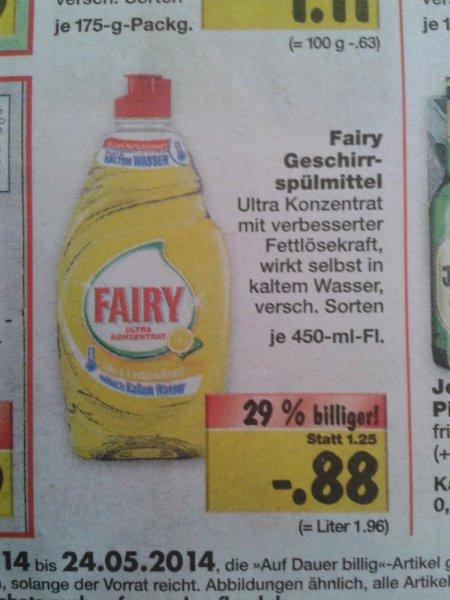 Fairy im Kaufland mit Coupon KOSTENLOS bzw mit  0,02€ Gewinn
