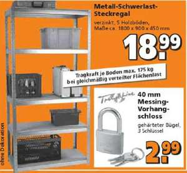 [Globus Baumarkt / OFFLINE] Schwerlastregal aus Metall 5 Böden jeweils 175kg belastbar für 18,99 EUR