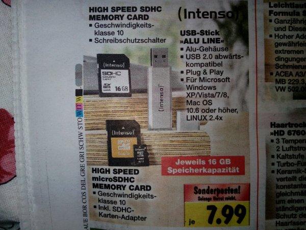 [Kaufland]16Gb SDHC, Micro-SD oder Usb-Stick für 7,99€