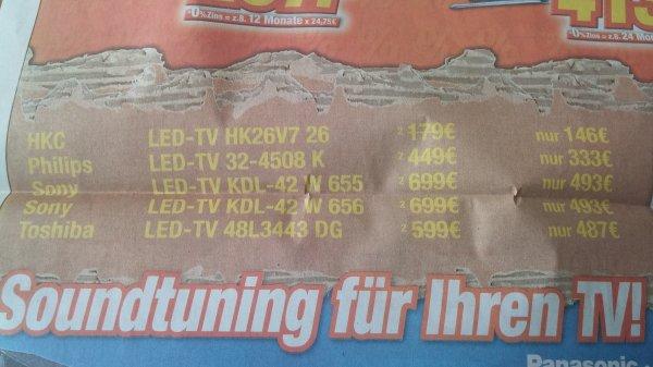 [Lokal] Toshiba 48L3443 DG LCD LED TV für 487€ (idealo 549€)