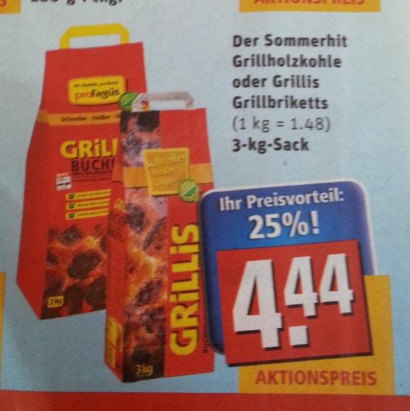[Lokal München/Bayern? Rewe] proFagus Der Sommerhit Grillholzkohle oder Grillis Grillbriketts 3kg