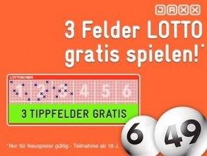 3 Lotto-Tippfelder GRATIS für Neukunden bei Jaxx