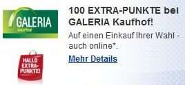 PAYBACK eCoupon: 100 extra Punkte (1 €) auf einen Einkauf bei Galeria Kaufhof