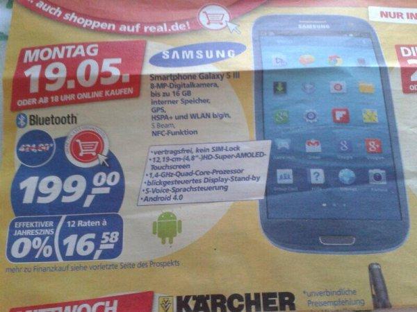 Samsung Galaxy S3 ab 19.05 im Real für 199 €
