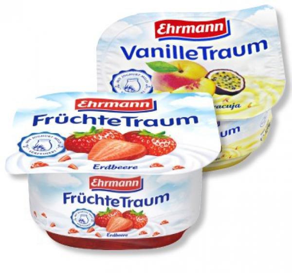 Rewe (bundesweit): Ehrmann Vanille- oder Früchte-Traum verschiedene Sorten, 5 Becher nur 1,00 Euro