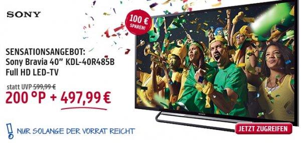 [Payback] Sony Bravia KDL-40R485B - LED-TV - 1080p (FullHD) für 499,99 EUR