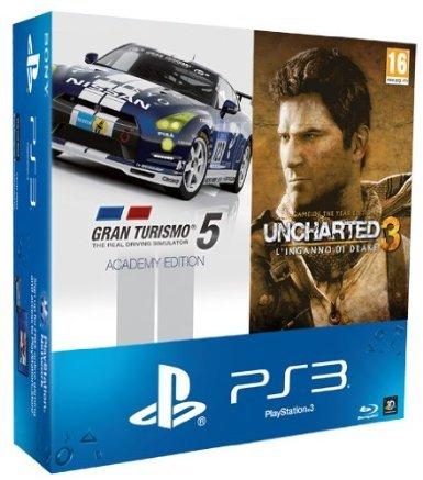 PlayStation 3 Super slim 500GB + Gran Turismo 5: Academy Edition + Uncharted 3: GOTY für 171,84€ @Amazon.it WHD