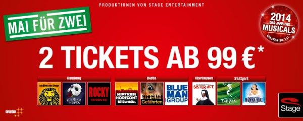 2 für 1 - Aktion für Stage Musicals bei beste-plaetze.de - ab 99 € + VVK + Versand (ca 120 €)