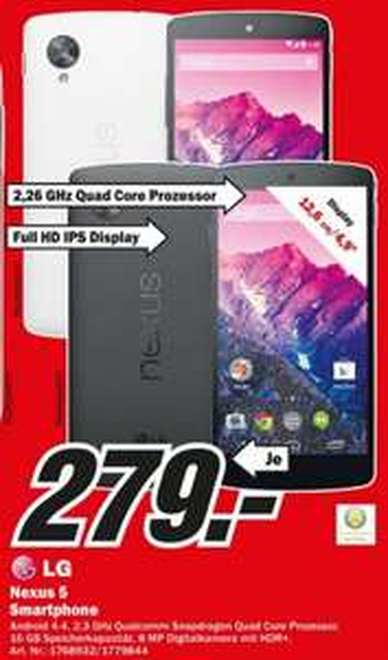 LG Nexus 5 16GB für 279€ Lokal [Mediamarkt Duisburg Essen Mülheim Velbert Recklinghausen Dorsten]