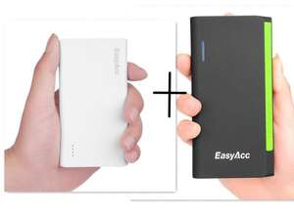 EasyAcc® 15600mAh Portable PowerBank für 29,99€ oder für 36,99€ mit einer kostenlosen 5000mAh PowerBank und EasyAcc® 2600mAh All-in-One PowerBank für 9,99€